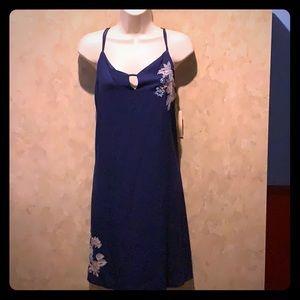 NEW blue embroidered juniors summer strap dress